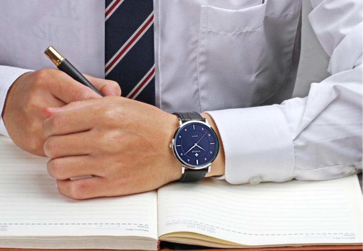 Sangle en cuir résistant à l'eau Quartz Ultra Fine montres homme 4