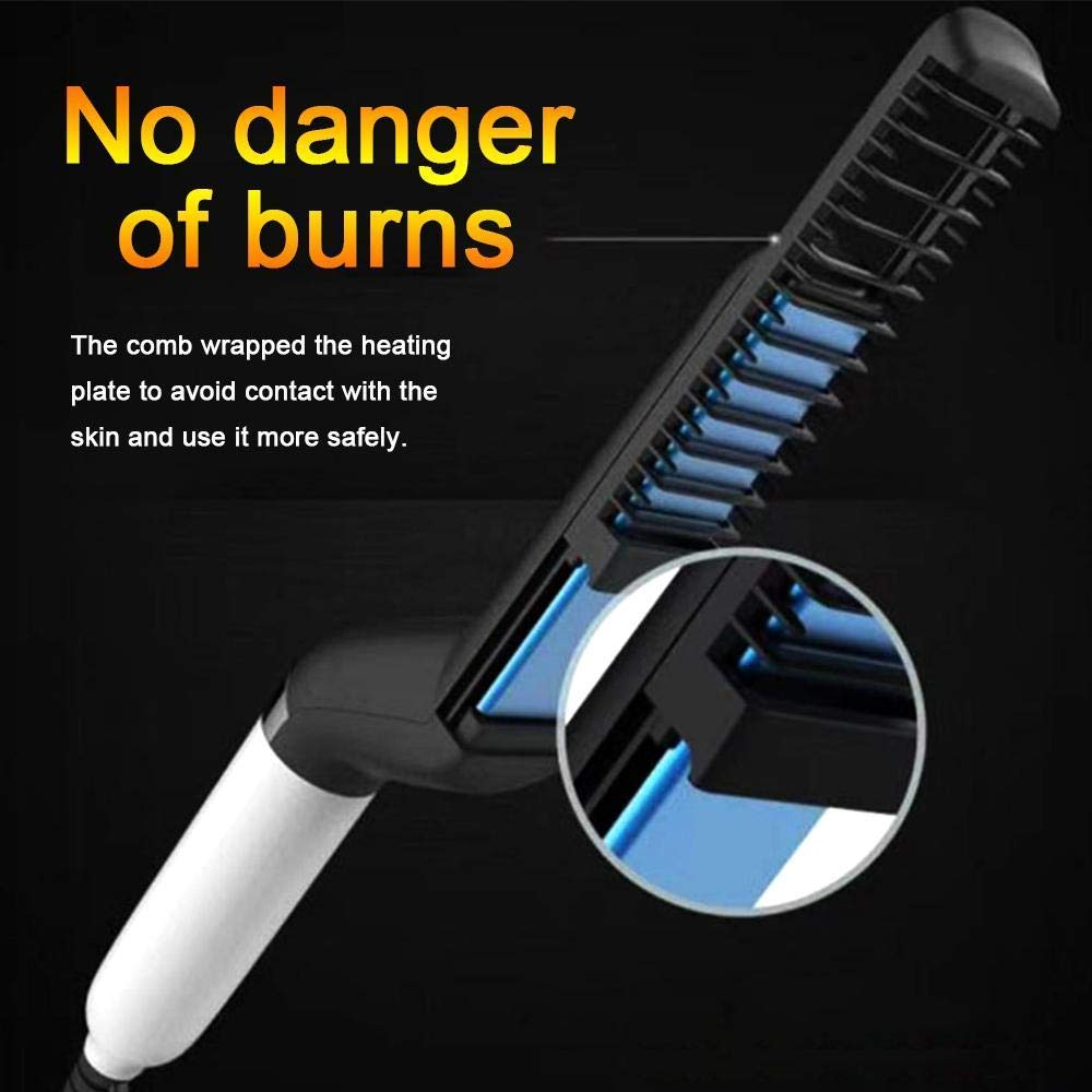 Electric Hair Comb,Quick Beard Straightener Comb,Multifunctional Quick Curling Curler Straightener Comb for Men