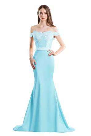 6e5024f3fcc2 YSMei Women s Long Mermaid Off Shoulder Celebrity Backlesses Lace Formal  Prom Gowns Aqua Blue 2