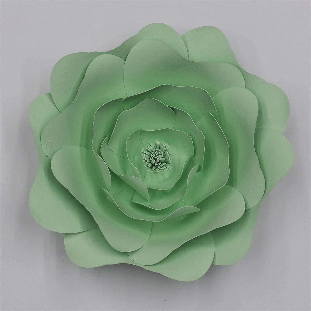 YJQWDDD New DIY Large Rose Giant Paper Flowers for Wedding Backdrops Decorations Paper Crafts Baby Nursery Birthday Video Tutorials Light Green 40CM