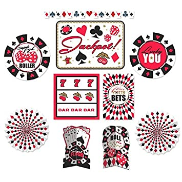 casino party decorating kit paper pack of 10 - Casino Party Decorations