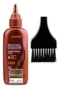 Clairol BEAUTIFUL COLLECTION Moisturizing SEMI-PERMANENT Hair Color (w/Sleek Tint Brush) No Ammonia No Peroxide Haircolor Aloe Vera Jojoba Vitamin E (B11W - Honey Brown)