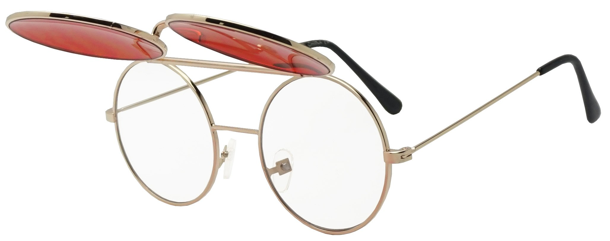 Round Colored Flip-Up Django Inspired Clear lens Sunglasses (Gold/Red Lens, 53) by SunglassUP