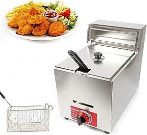 DYRABREST 10L Commercial Deep Fryer, Gas Fryer Propane Heating Deep Fryer Commercial Countertop Fry Food with Basket Stainless Steel