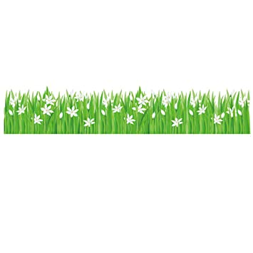 UNIQUEBELLA Wall Stickers Murals Wall Decor Green Garden Grasses And  Flowers Wall Decals PVC Sticker Bathroom
