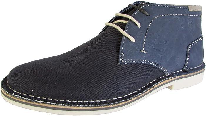 Sentirse mal mecanógrafo Ninguna  Amazon.com   Steve Madden Mens P-Ionic Lace Up Chukka Boot Shoes, Navy  Leather, US 8   Boots