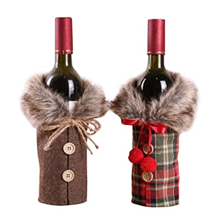 Image Unavailable. Image not available for. Color  2 Pack Christmas Faux  Fur Wine Bottle Cover, Wine Bottle Bag ... a1cfebc73d