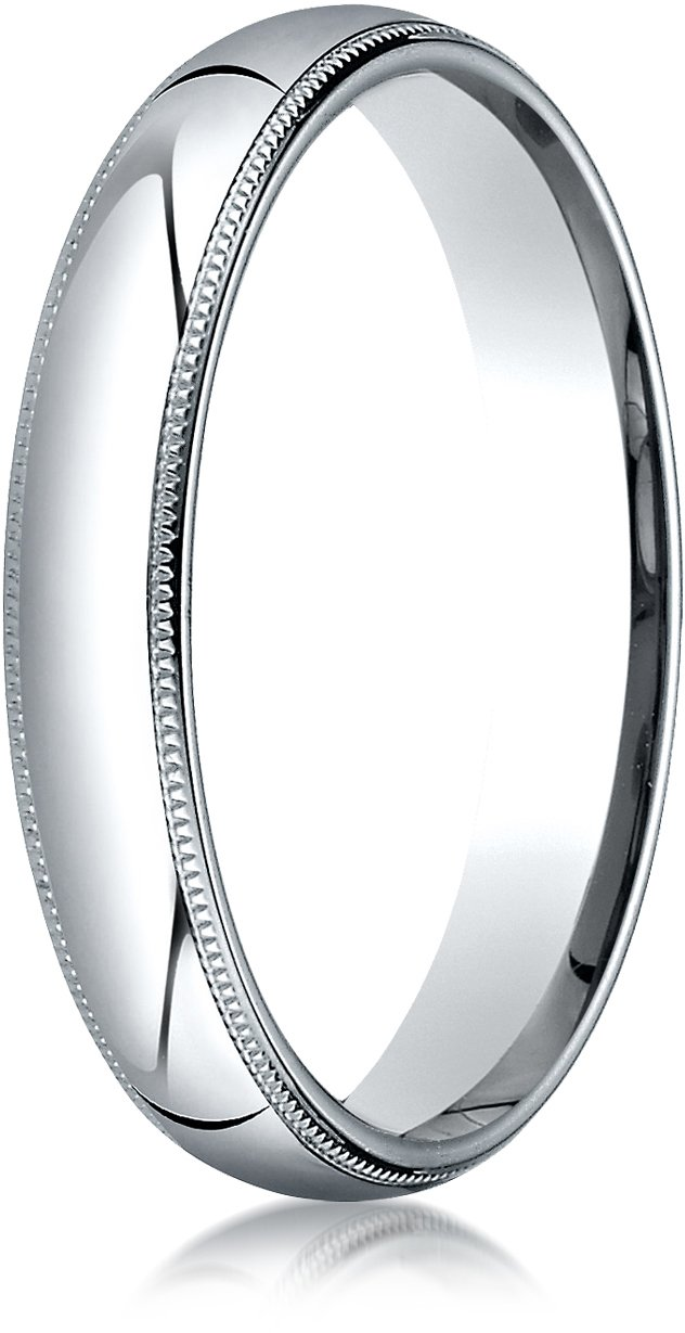 Benchmark Palladium 4mm Slightly Domed Standard Comfort-Fit Wedding Band Ring with Milgrain, Size 8.25
