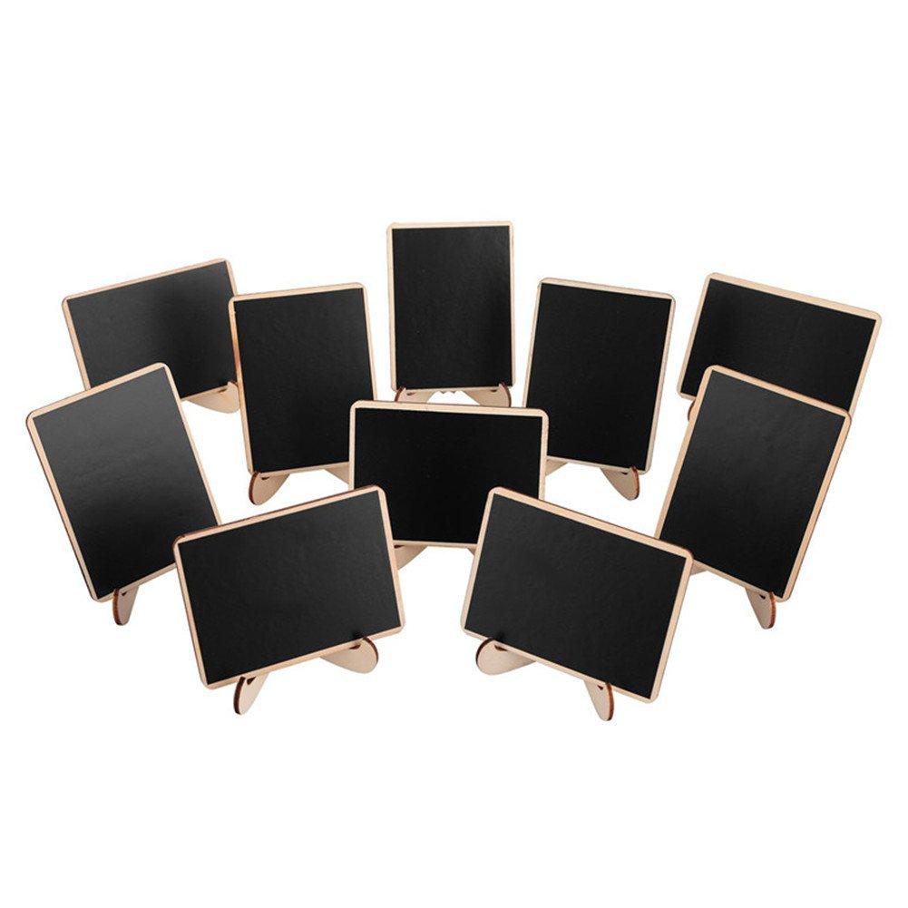 negro Housesesweet madera 10 * 7.5 * 0.3 cm Mini pizarra rectangular con soporte de madera