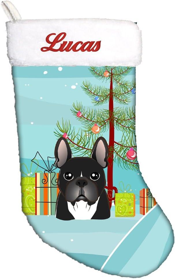Carolines Treasures Merry Christmas Tree French Bulldog Black Stocking Large Multicolor