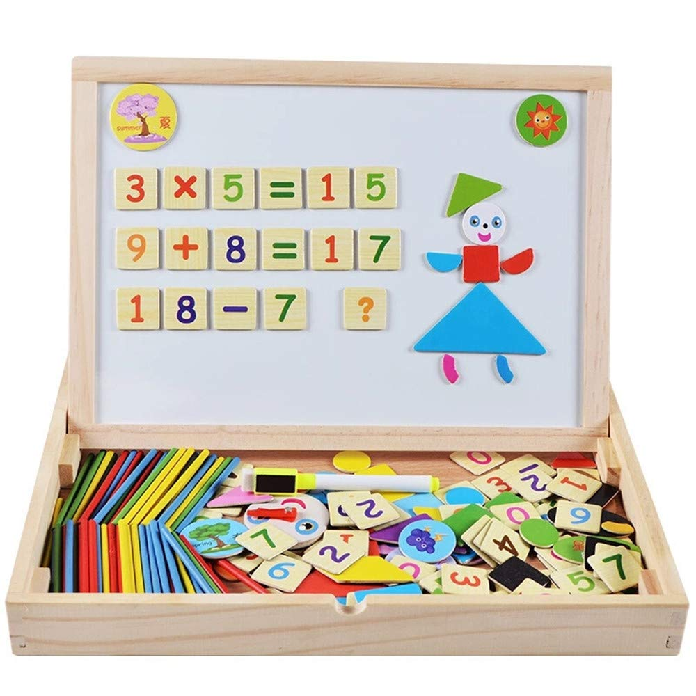 Aszhdfihas Lavagna Magnetic Jigsaw Puzzle with Clock Giocattoli di Legno cognitivi e Disegni Scrittura Doppio Happiness per Bambini Pop Educazione Giocattoli educativi Cancellabile Scribble Board