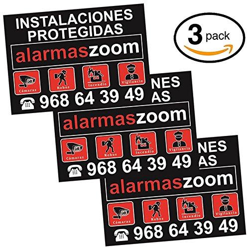 Seguridad hogar con cartel disuasorio alarma conecta vigilancia hogares sin cuota Pack 3 carteles r/ígidos instalaciones protegidas alarmaszoom en color negro