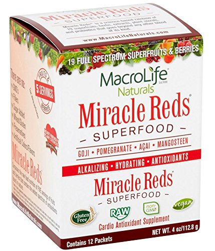 MacroLife Naturals Miracle Reds Raw Organic Superfood Powerful Gluten Free, Non GMO Fruit & Veggie Drink Powder, 4 Ounce