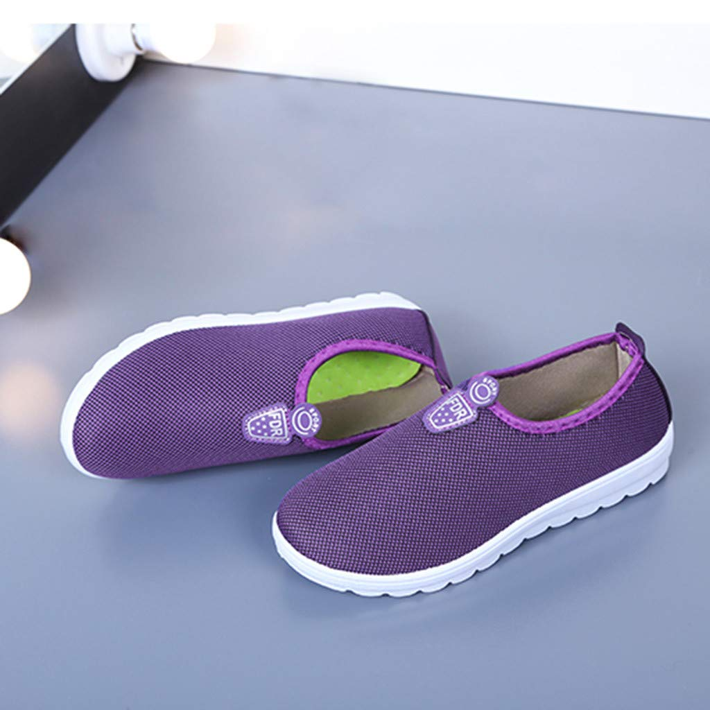 Moonker Women Girls Fashion Sport Walking Sneakers Ladies Solid Slip On Soft Cotton Casual Shoes Running Shoes Red,Purple