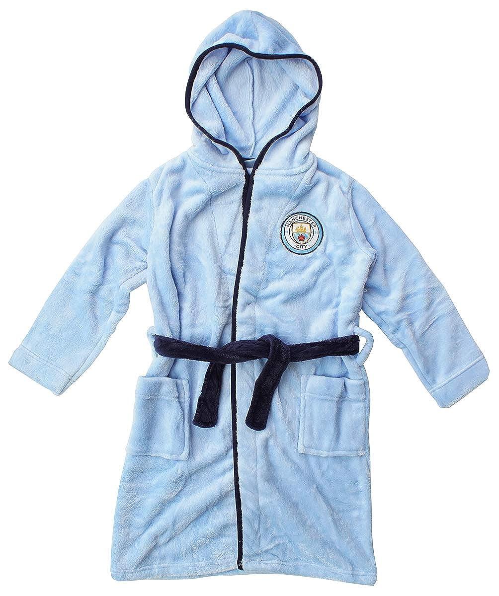 Mens Official Manchester Man City MCFC Fleece Dressing Gown Bathrobe Sizes S M L XL