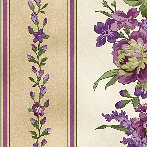 Elegant Floral Border Stripe, Ecru and Tan Backgrounds, Aubergine, Debbie Beaves, Maywood Studio, MAS9150-E, by The Yard
