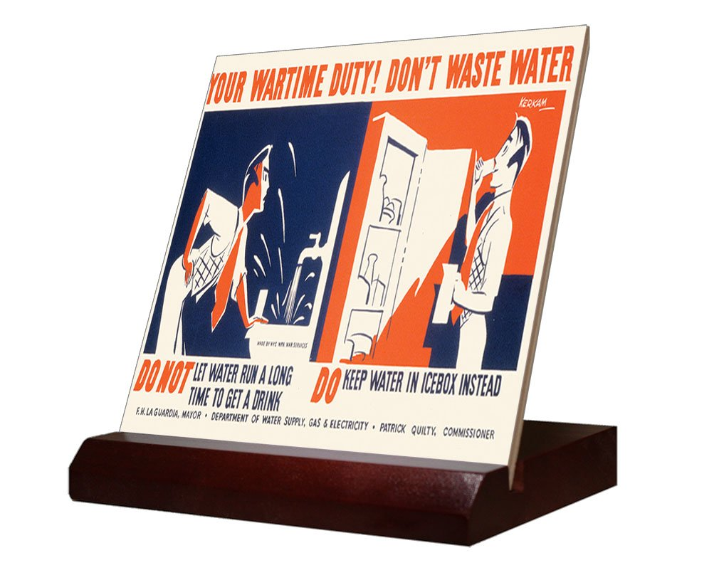 Wartime Duty Don't Waste Water (Kerkam) Ceramic Tile & Stand 4''x4'' by Style in Print