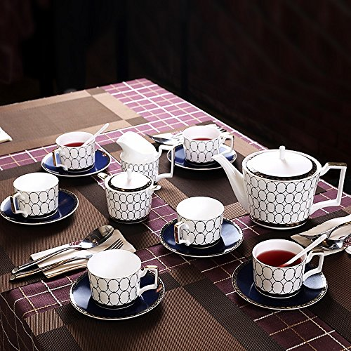 DHG English Bone China Coffee Cup Set Afternoon Tea Set Coffee Set Ceramic Home Continental Red Tea Cup Package,A by DHG (Image #1)