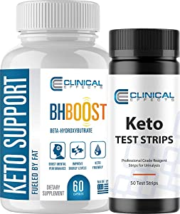 Clinical Effects: Keto Support BHBoost and Keto Test Strips Bundle - Dietary Supplement and Test Ketosis Levels on Ketogenic Diet - 60 Capsules + 50 Test Strips - Fat Burner and Weight Loss Support