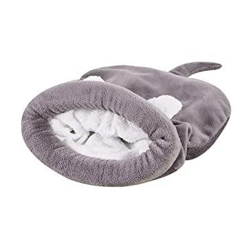 DaoRier Saco de Dormir Casa para Mascotas Cama de Perro Gato Puppy Conejo Mascota Antideslizante Plegable Suave Calentar con Cojín Extraíble Gris 50x40cm: ...