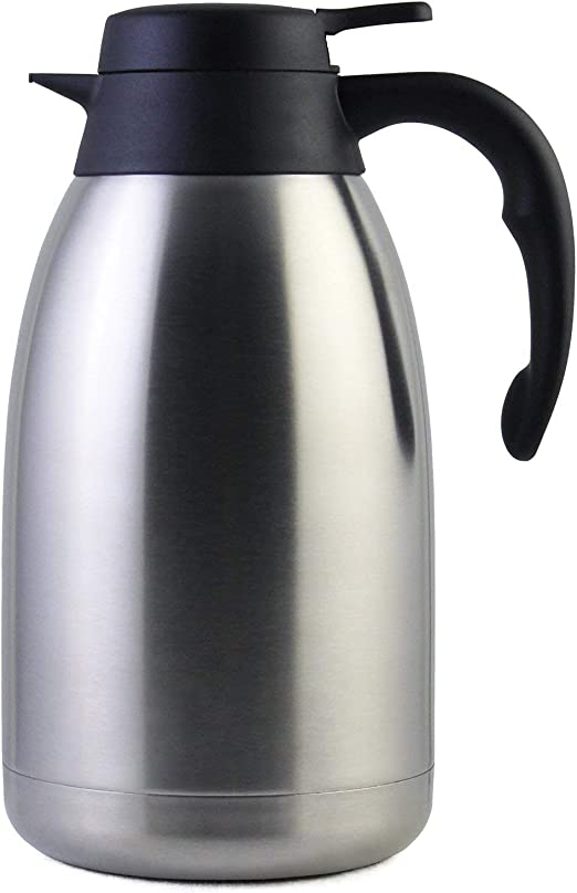 Jarra térmica de acero inoxidable de 2 litros de Prop, tetera, cafetera y jarra térmica con 12 horas de conservación del calor, doble pared de vacío para té y café, 2 l: