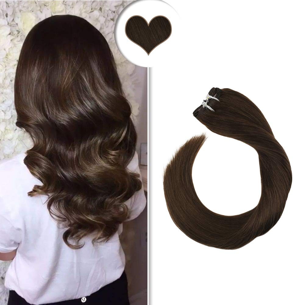 Ugeat Natural Human Hair Clip in Extensions 7PCS 120g Clip in Hair Extensions Real Remy Hair Solid Color Dark Brown 16inch Clip in Extensions Human Hair Full Head by Ugeat