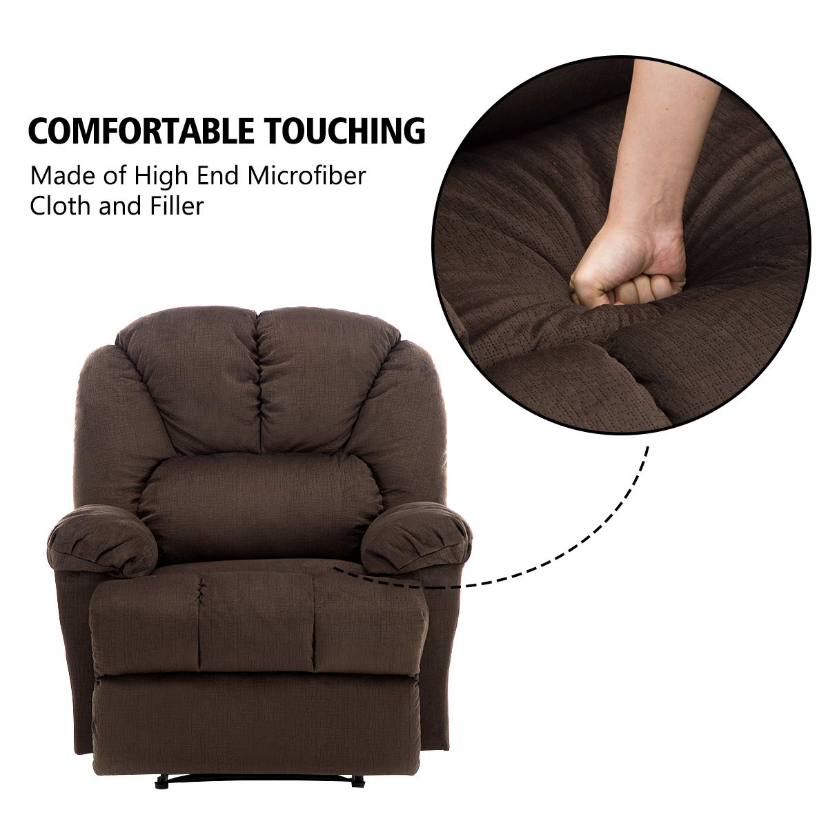 Fabric Recliner Chair, Bonzy Home Self-adjusting the Backrest and Footrest, Living Room Chair with Short Plush Fabric Overstuffed Design Recliner Chair Comfortable for Living Room Bedroom Theater Room
