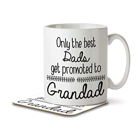 a09ce0832dc Only the Best Dads Get Promoted to Grandad - Mug and Coaster By Inky Penguin