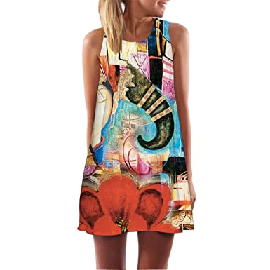 35cfbc0df82 Image Unavailable. Image not available for. Colour  Shinekoo Women s Summer  Sleeveless Shoulder Off Unique Floral ...