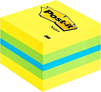 jaune citron 400 feuille citron vert s Bloc cube de notes adh/ésives Post-it 2051-L 51 mm x 40 mm bleu