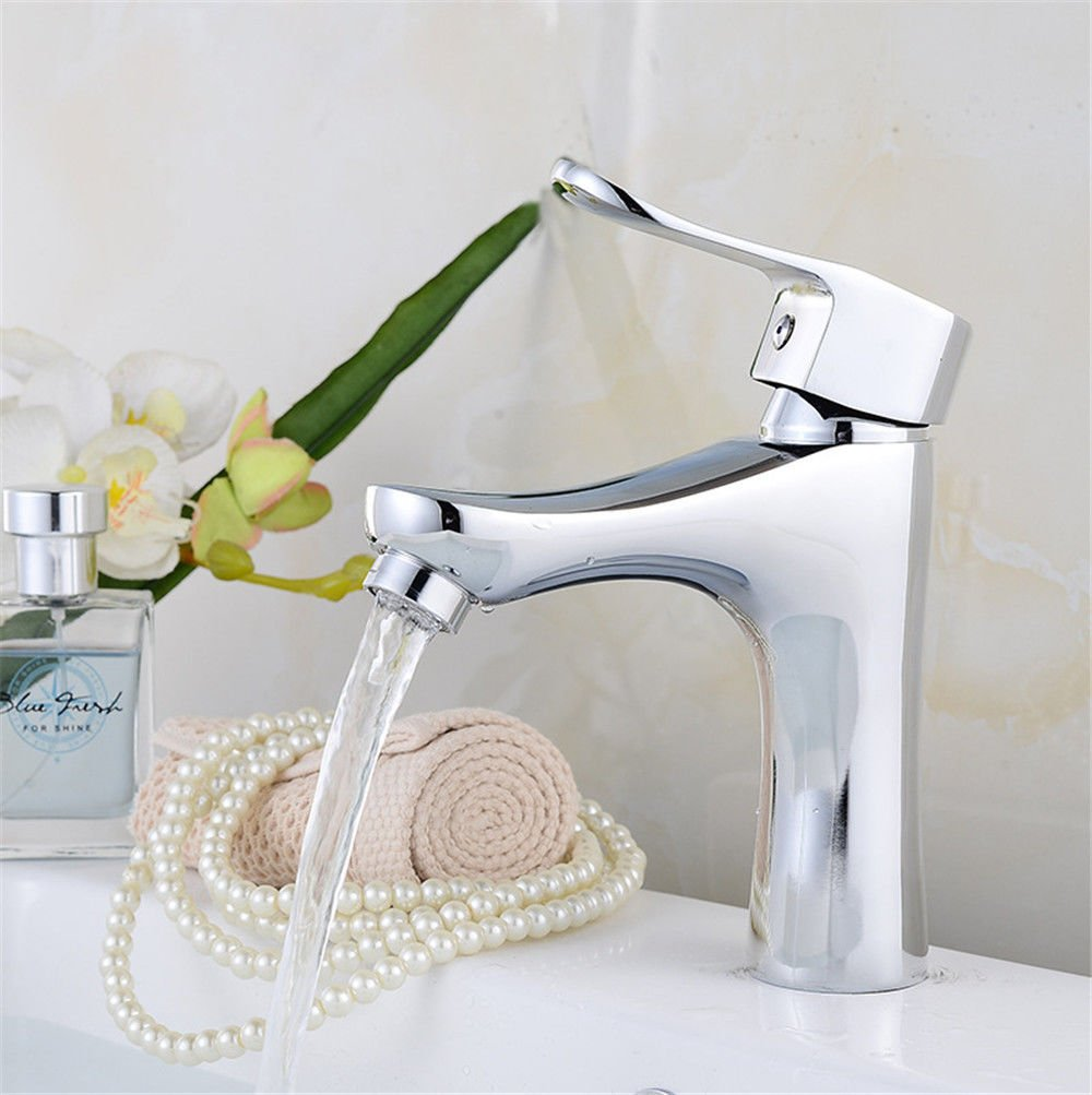 Good quality Antique Basin Sink Mixer Tap All copper single hole basin cold water tap basin one-on-one-hole express open faucet wash basin mixer chrome plated faucet Bathroom Cabinet Faucet