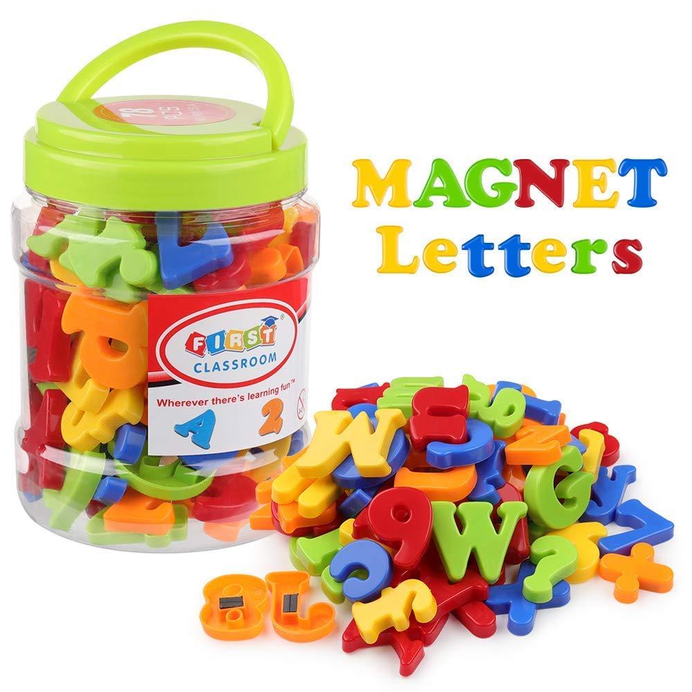 Coogam Magnétiques Lettres et Chiffres pour Les Enfants Symboles Mathématiques Alphabet Majuscule Minuscule Alphabétique Aimants pour le Frigo Jouet éducatif pour Apprentissage Préscolaire le (78 Pcs)