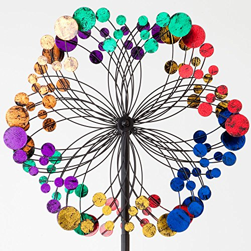 Bits and Pieces Metallic Kaleidoscope Wind Spinner - Garden Décor - Weather Safe Finish Makes for Great Addition to Your Garden, Lawn or Patio - Metal Whirligigs