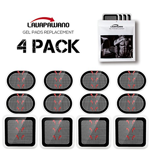 Gel Pads Replacement Unit Set Pack for All Abdominal Belts (black 4 sets of 12 pads)