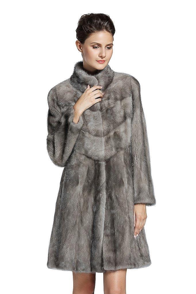 YR Lover Women's Whole Skin Long Mink Fur Coat Winter Warm Mink Jacket Overcoat False