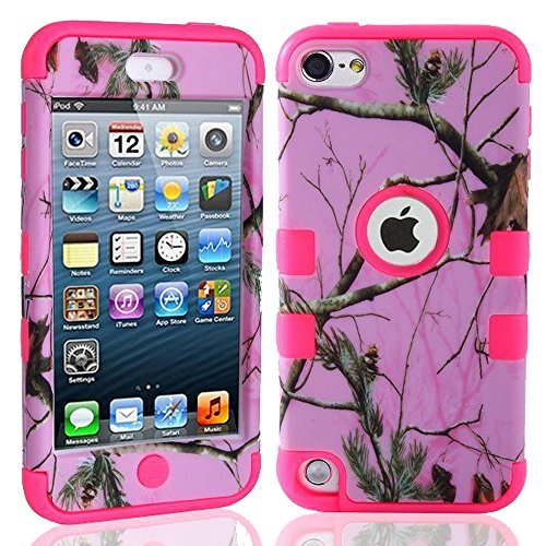 Kecko(TM) Defender Tough Armor Tree Camo Shockproof Dual Layer High Impact Camouflage Hunting Tree Forest Hybrid Hard Suitable Fit Case For ipod Touch 5 5th Only--Forest/Tree/Leaves On The Core (Pink Tree Hot Pink)