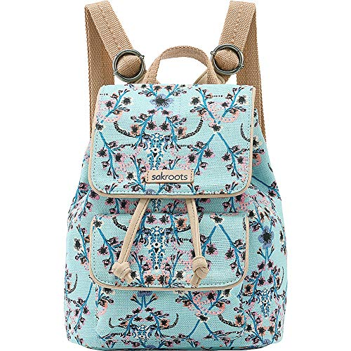 Sakroots Metro Mini Flap Backpack, Light Blue Mojave Canyon