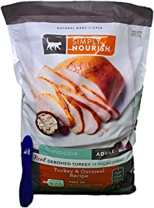 Simply Nourish Adult Dry Cat Food, Indoor Turkey and Oatmeal 12 Pounds and Especiales Cosas Mixing Spatula