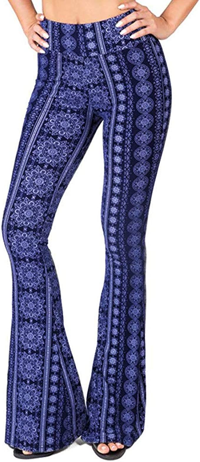 Womens High Waist Wide Leg Long Palazzo Bell Bottom Yoga Pants Floor Length Ethnic Boho Flared Palazzo Pants