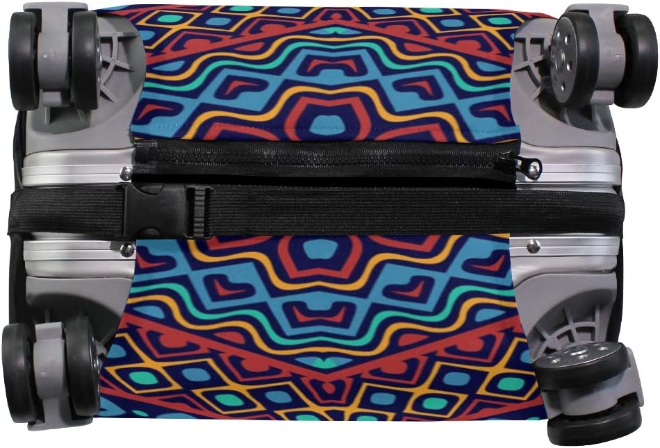 Cute 3D Ethnic Ornaments With Zigzag Pattern Luggage Protector Travel Luggage Cover Trolley Case Protective Cover Fits 18-32 Inch