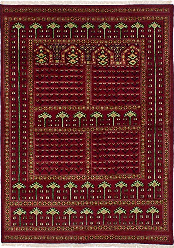 eCarpet Gallery Hand-Knotted | Area Rug for Living Room, Bedroom | Home Decor Rug | 100% Wool | Peshawar Bokhara Traditional Red Rug 4