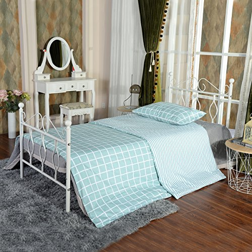 GreenForest Twin Bed Frame Metal Platform Complete Bed with Vintage Headboard and Footboard Box Spring Replacement Steel Slats Bed, White Twin