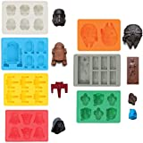 Sunerly Silicone Ice Tray Molds in Star Wars Character Shapes, Ideal for Chocolate, Ice Cubes Trays, Jelly, Sweets…