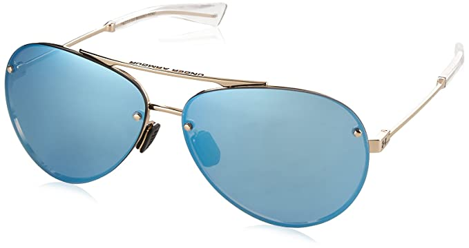 45244ab94bc9 Under Armour UA Double Down Aviator Sunglasses, UA Double Down Gloss Rose  Gold/Clear/Blue Mirror, L/XL: Amazon.co.uk: Clothing