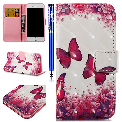 EUWLY iPhone 6 Plus/6S Plus Case,iPhone 6 Plus/6S Plus Leather Wallet Case,3D Colorful Art Painted Painting Pattern Ultra-Thin Slim PU Leather Protective Sleeve Stand Feature with Lanyard Book Style M Butterfly Lovers