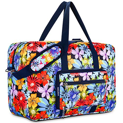(Travel Foldable Waterproof Duffel Bag - Lightweight Carry Storage Luggage Tote Duffel Bag. (Purple Flower))