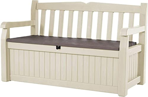Daana Grant Patio Storage Benches for Outdoors, Furniture for Patio Decor and Outdoor Seating,Keter Storage Bench-Beige Brow.