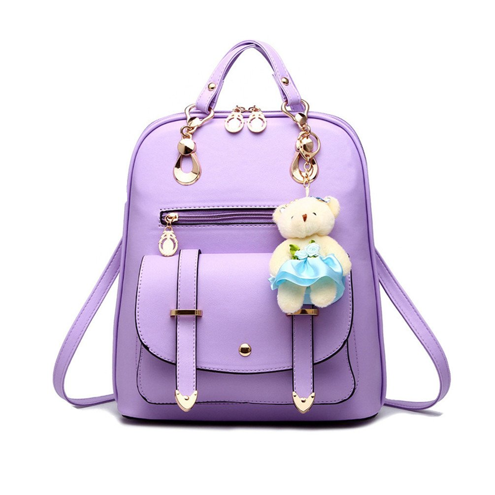 Hynbse Women's Summer Cute Korean Leather School Student Backpack Shoulder Bag Purple