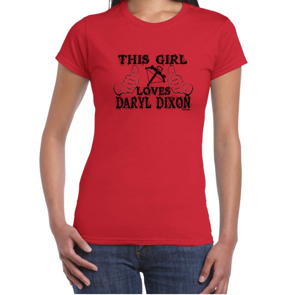 Womens Funny T Shirts-Girl Loves Daryl Dixon-Walking Dead tshirt-Funny Gift ALM-786t