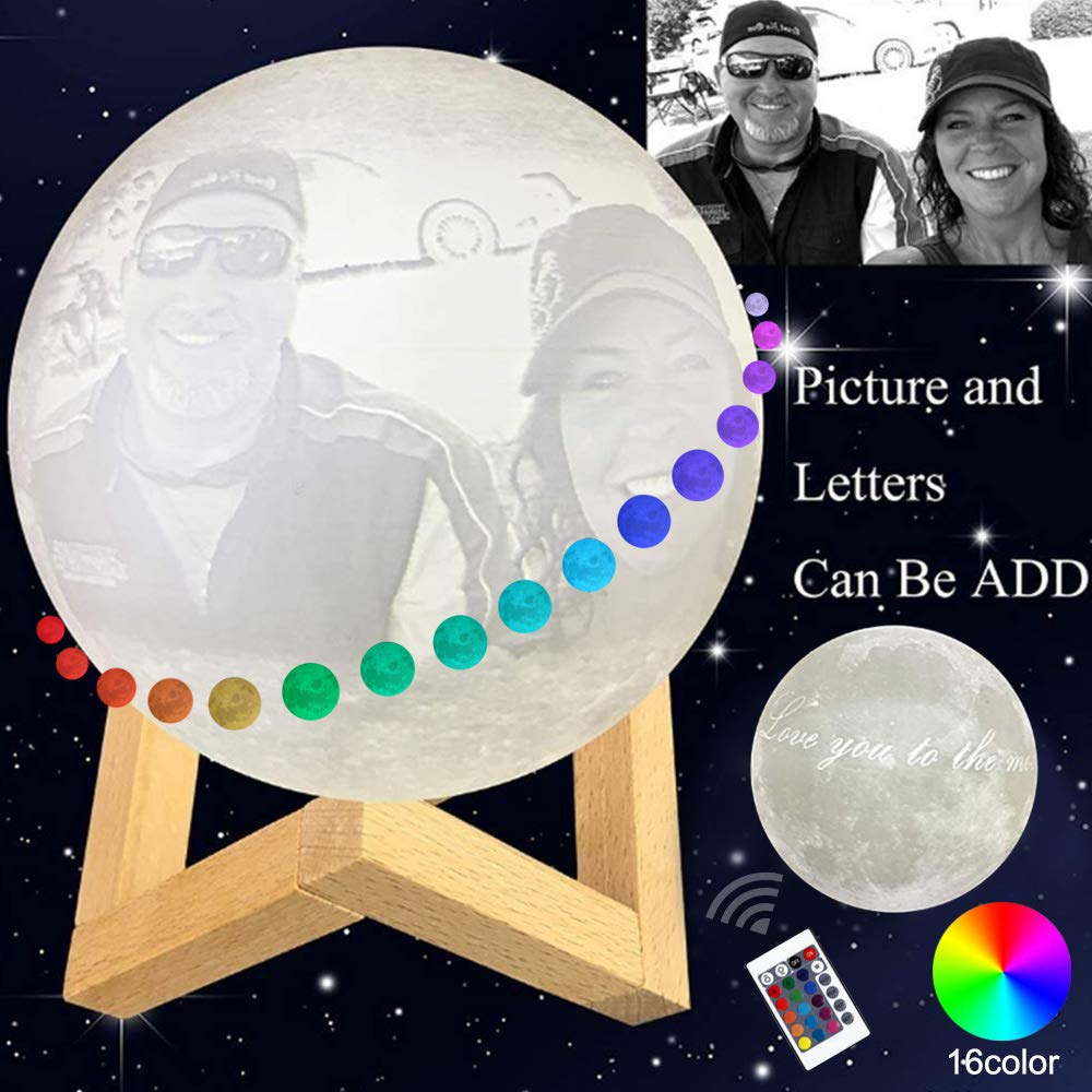 Custom Made Moon Lamp: Put (Photo, Text, Pattern) On The Moon Light, 3D Printing Moon Light Remote&Touch Control 16 Colors, Decor Moon Light for Kids, Birthday, Bedside (7.1 Inches, 18cm)